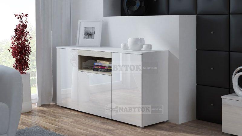 b42ae621a2a9e Komoda VIVA - stojaca, farba: biela mat. / biely lesk - dub sonoma