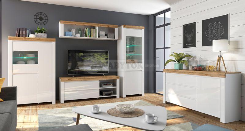 501f63bf261c8 farba: biela / dub wotan / biela lesk, obývacia stena HOLTEN zostava -  ilustračný